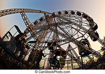 cieszyć się, koło, ludzie, cielna, delhi, park, rozrywka,...