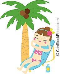 cieszyć się, lato, drzewo, ferie, dłoń, pod, dziewczyna, plaża, rysunek