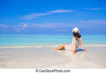 cieszyć się, lato, kobieta, młody, urlop, biała plaża,...