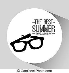 cieszyć się, lato, sunglasses, podróż, karta, najlepszy