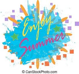 cieszyć się, lato, tło, wektor, ilustracja, eps.10