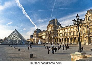 cieszyć się, marzec, luwr, paryż, -, pogoda, mama, turyści,...