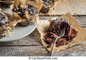 cieszyć się, muffins, upieczony, świeżo, czekolada