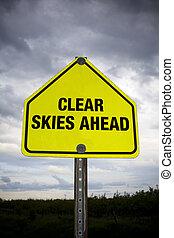cieux clairs, devant, panneaux signalisations