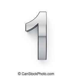 cifra, render, -, 1, metalic, simbol, 3d