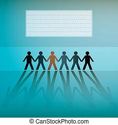 cifras humanas, consecutivo, plano de fondo, -, ilustración