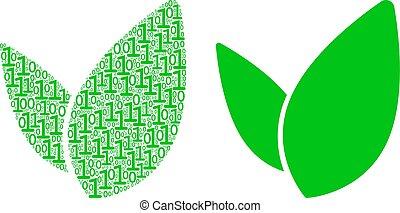 cifre, binario, floreale, mosaico, germoglio