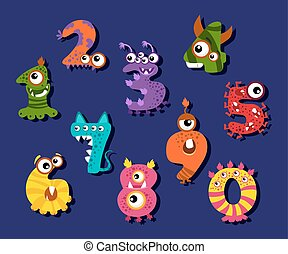 cifre, divertente, set, o, vettore, numeri, comico, cartone animato