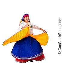 cigány, nő, latin, tánc