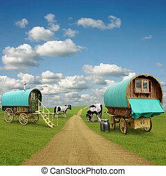 cigány, tehervagon, vontatott lakókocsi