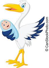 Cigüeña, bebé, caricatura