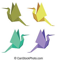 cigüeña, en, el, estilo, de, origami
