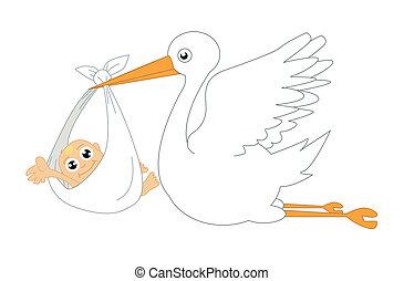 cigüeña, y, bebé, vector, ilustración