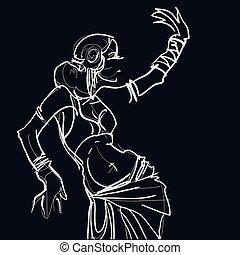 cigana, tribal, dançarino, fusão