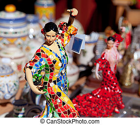 cigano, mulher, dançarino, estátua, ofícios, flamenco
