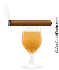 cigar and alcoholic drinks vector illustration isolated on...