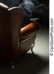 cigar and armchair - Cigar and beautiful leather armchair on...