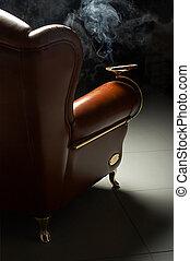 cigar and armchair - Cigar and beautiful leather armchair on...