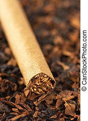 Cigar and tobacco - Cigar on heap of cut tobacco close-up.