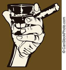Cigar and Whiskey - Vector illustration of a hand holding a...