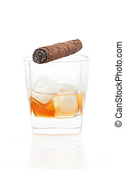 Cigar and whiskey with ice isolated.