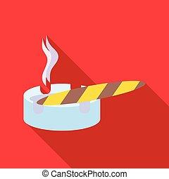 Cigar burned and ashtray icon , flat style