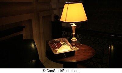 Cigar club. Cigars in a close-up box