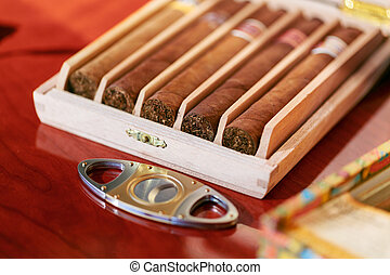 cigar cutter and cigars in humidor wooden box