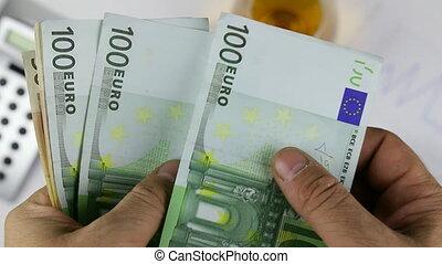 cigar., euros, argent, diagramme, papier, européen, fond, dénombrement, homme