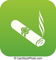 Cigar icon green vector