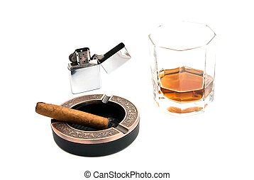 cigar in ashtray and alcohol