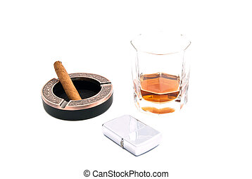 cigar in ashtray, cognac and metal lighter