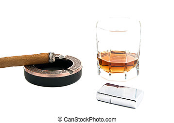 cigar in ashtray, lighter and whiskey on white