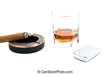 cigar in ashtray, lighter and whiskey