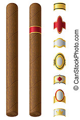 cigar labels for them vector illustration isolated on white...