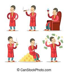 cigar., réussi, argent, illustration, vecteur, businessman., riche, homme aîné, dessin animé, heureux