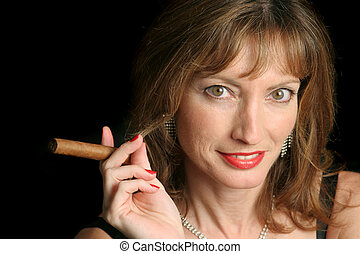 Cigar Sophisticate - A beautiful, sophisticated woman with a...