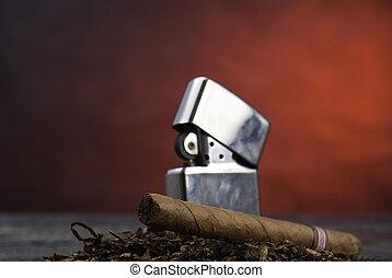 Cigar, tabacco and zippo