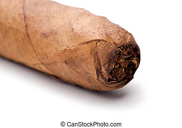 Cigar tip isolated on a white background