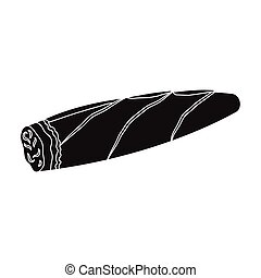 Cigar, twisted tobacco leaf. Smoldering cigar single icon in black style vector symbol stock illustration web.