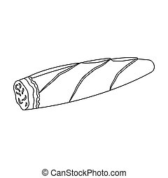 Cigar, twisted tobacco leaf. Smoldering cigar single icon in outline style vector symbol stock illustration web.