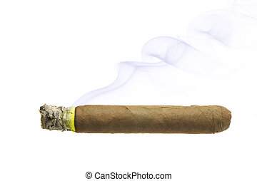 Cigar with smoke isolated over white background