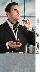 cigare, boire, homme, cognac, fumer