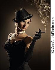 cigare, femme, mode, fumée, fumer, modèle, nuage, dame, girl