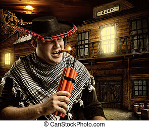 cigare, mexicain, cow-boy, tir, sérieux, dynamite