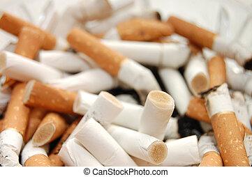 cigarett, fyllda, askkopp, fimpar