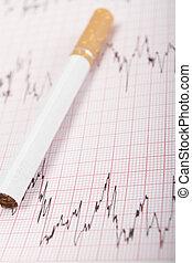 cigarett, på, ecg, utskrift