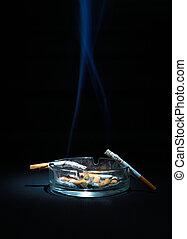 cigarett, två, askkopp