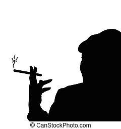 cigaretta, nő, vektor, fekete