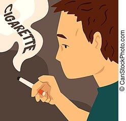 Cigarette addiction, habit harmful to health vector Illustration